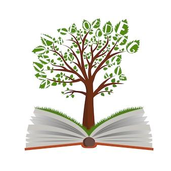 白い背景の上の開いた本からの知識ツリー