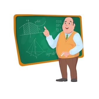教室で生徒を教える黒板の前に立っている先生教授
