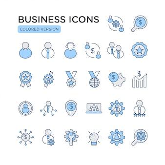 ビジネス関連の色ベクトル線アイコンのセットです。ビジネスマン、シナジー、ビジネスパートナー、お金の節約、投資などのアイコンが含まれています