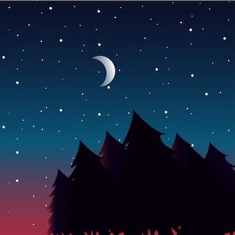 Ночной пейзаж с силуэтами леса и красивое ночное небо со звездами и луной.