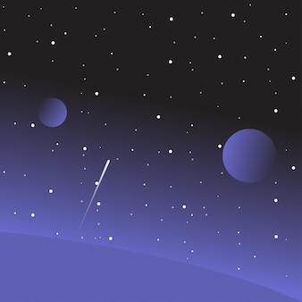 惑星と星のフラットスペースベクトルイラスト。
