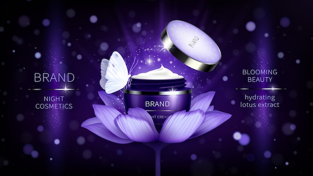 Косметический баннер с реалистичной фиолетовой открытой баночкой для крема по уходу за кожей на лотосе