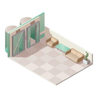Изометрический интерьер зала лифта