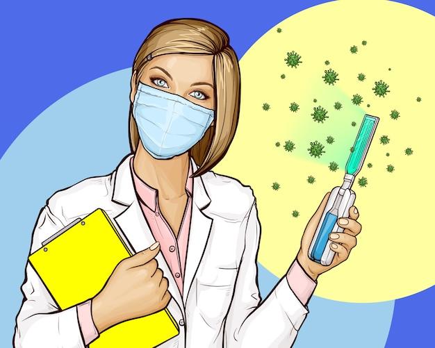 ポータブル紫外線消毒器を持つ医師