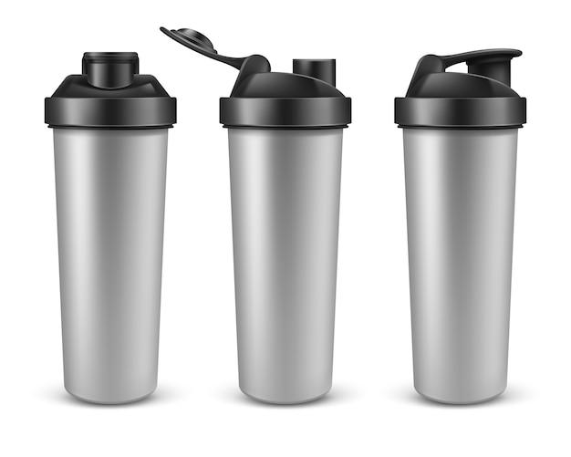 Реалистичная серебряная пустая протеиновая бутылка или шейкер