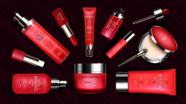 スキンケアとメイクアップのための赤い化粧品ライン
