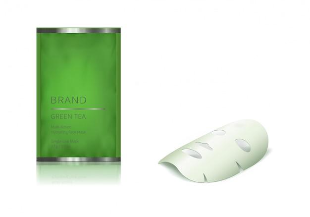緑色のガラス瓶とフェイシャルシートマスク