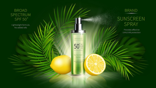 Солнцезащитная косметика вектор реалистичный рекламный плакат