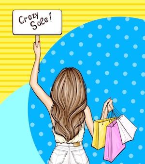 ポップアートの女の子はサインとショッピングバッグを保持します