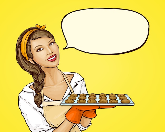 Поп-арт женщина держит поднос с печеньем