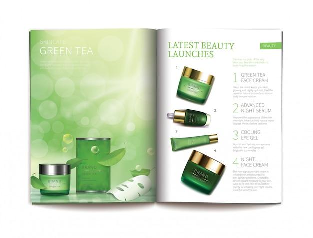 光沢のある化粧品雑誌のためのベクトルテンプレート。