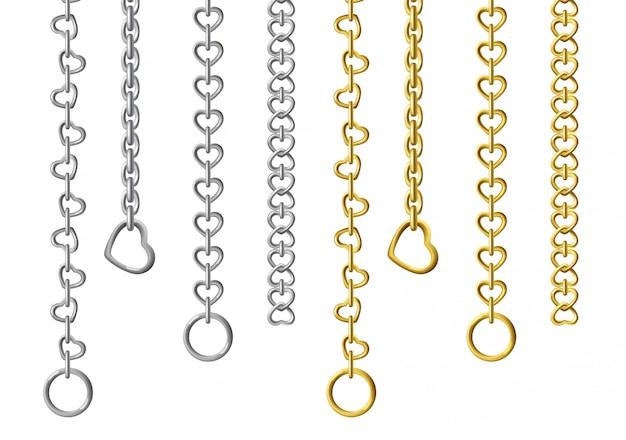 Серебряные и золотые металлические цепочки