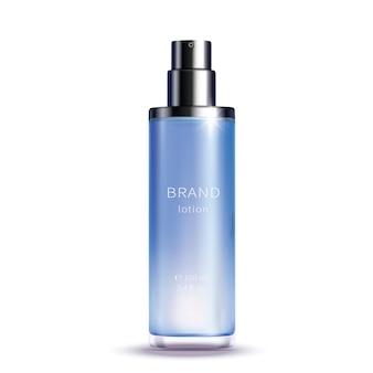 Синяя стеклянная бутылка с распылителем