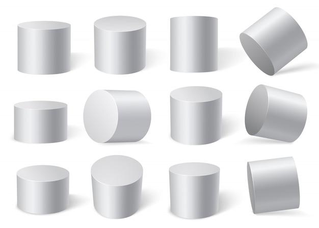 さまざまな角度の白い円柱。白い背景に分離されました。