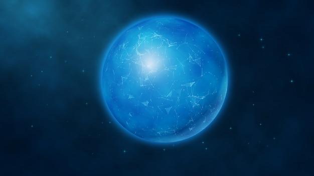 スペースの背景に抽象的な青い未来的なデジタル地球儀