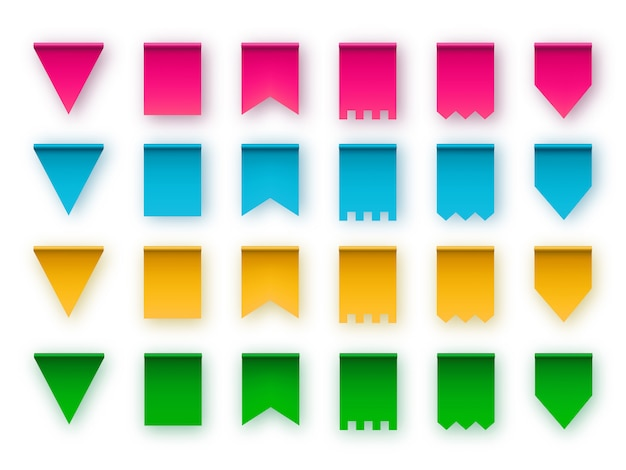 Варианты типов флажков для гирлянд. элементы дизайна.