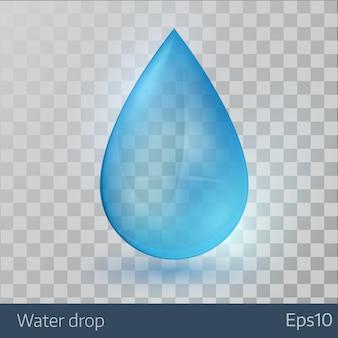 青い光沢のある単一の水滴