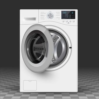 洗濯機のベクトルのリアルなイラスト。