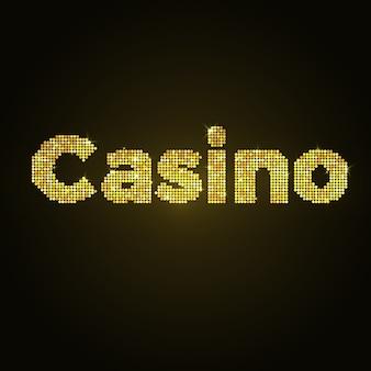 Слово казино золотой мозаики. векторный дизайн золотой глиттер.