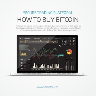 Ноутбук с черным биржевым советом
