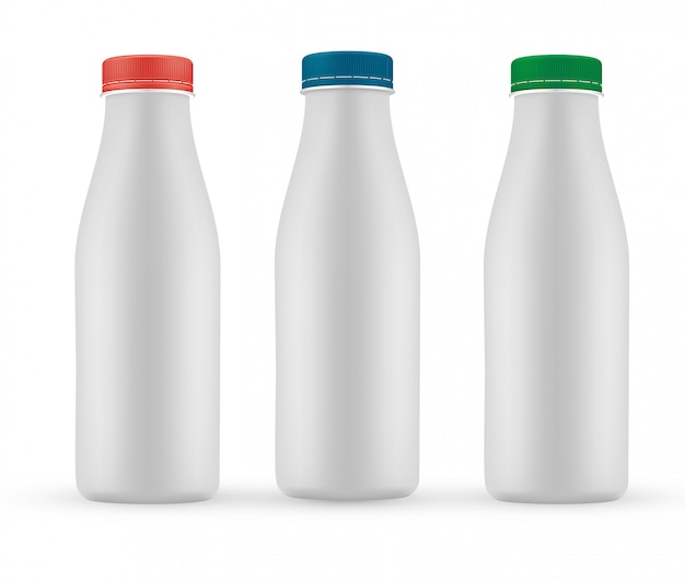 空白の牛乳またはヨーグルトの白いボトル、スクリューキャップ付き