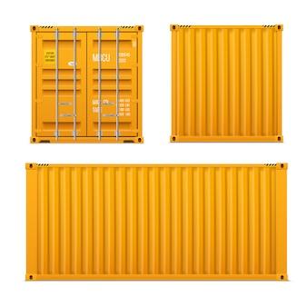 Реалистичные ярко-желтый грузовой контейнер установлен. концепция перевозки. закрытый контейнер. спереди, сзади и сбоку. набор реалистичных векторов