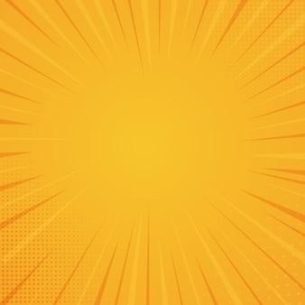 コミックスタイルの背景、ハーフトーンプリントの質感。オレンジ色の背景のベクトル図