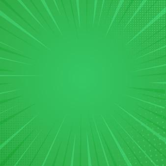 コミックスタイルの背景、ハーフトーンプリントの質感。緑色の背景でのベクトル図