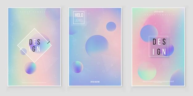 ホログラムぼやけた背景設定ぼやけた抽象的な虹色のホログラム箔の背景。ホログラフィックホイルベクトル