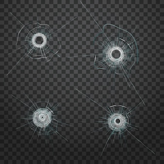 リアルな弾丸のガラス穴