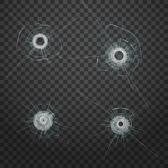 現実的な弾丸ガラスの穴。