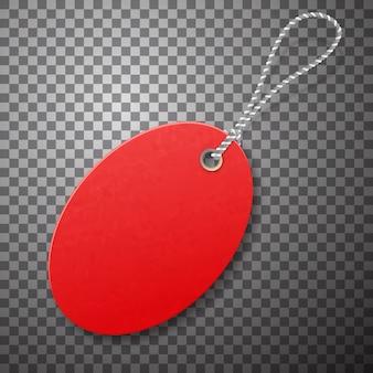 Красный реалистичные текстурированные продать тег с веревкой.