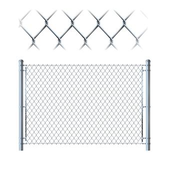 リアルなメタルチェーンリンクフェンス
