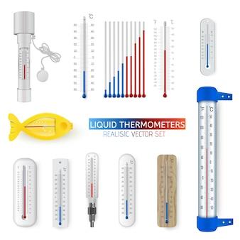 Векторный набор реалистичных различных бытовых и метеорологических жидкостных термометров