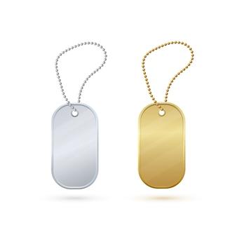 金と銀の空の現実的な金属タグ。