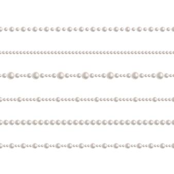 リアルなパールビーズチェーン。現実的なシームレスパターンのベクトルを設定
