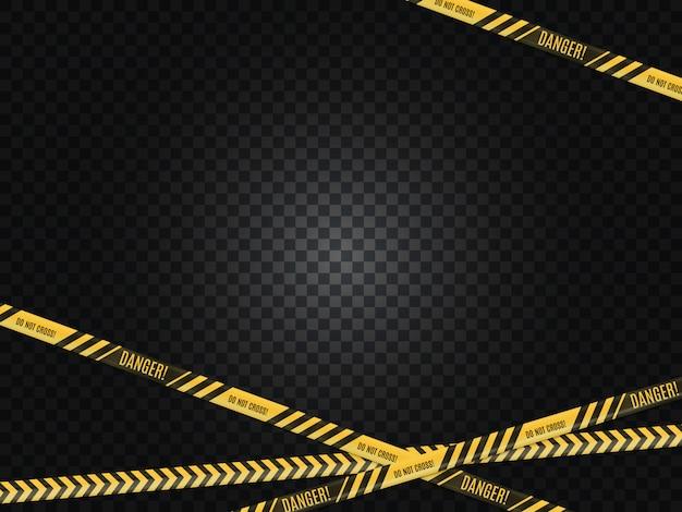警察のライン。犯罪シーン。危険警告。
