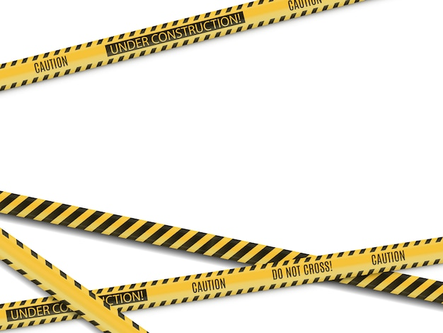 Полицейские линии. место преступления. предупреждение об опасности. ленточный забор. въезд запрещен.