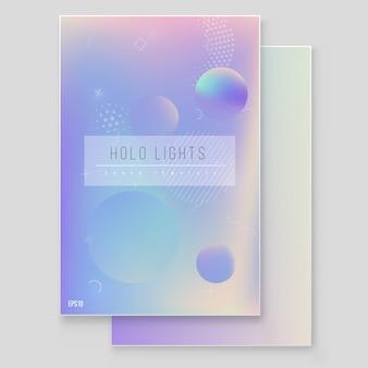 ホログラフィック紙魔法箔大理石カバーベクトルを設定します。パンフレット、バナー、壁紙、モバイル画面のミニマルなヒップスターデザイン虹色グラフィック