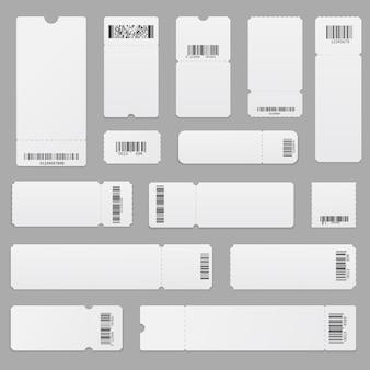 Реалистичный набор пустых шаблонов билетов со штрих-кодами