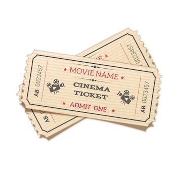 Реалистичные скрещенные пары ретро билеты в кино изолированы