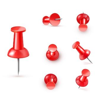Реалистичная пластиковая глянцевая красная канцелярская кнопка