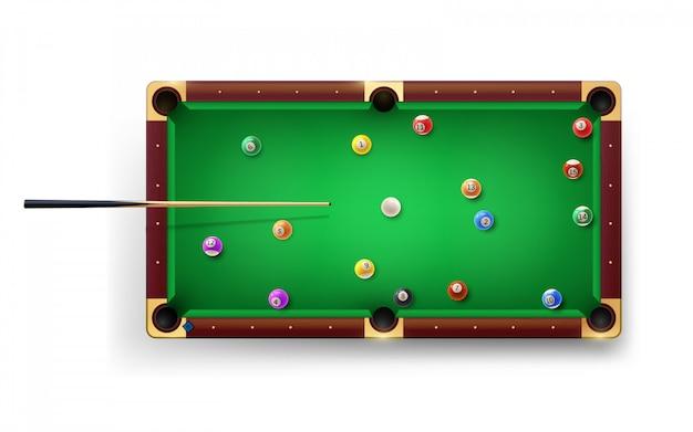 プールキュー、光沢のあるボール、その他の機器を備えたアメリカンプールテーブル。