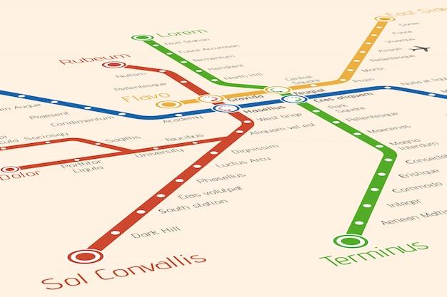 抽象的な地下鉄や地下鉄の地図デザインテンプレート。