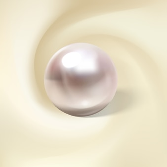 Легкий шелк, свернутый вокруг реалистичной жемчужины