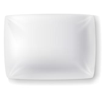 Реалистичная белая прямоугольная подушка