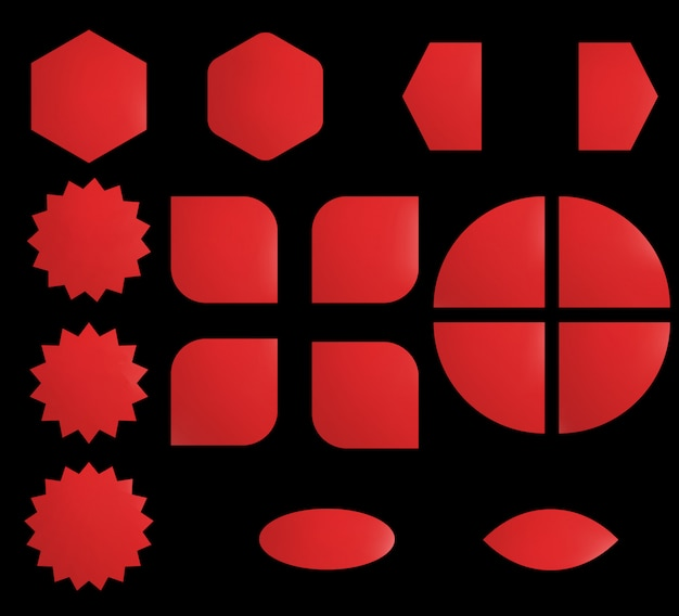さまざまな形の空のステッカーセット