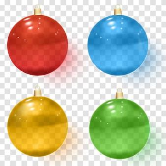 透明なガラスクリスマスボール。現実的なクリスマスガラスボール。
