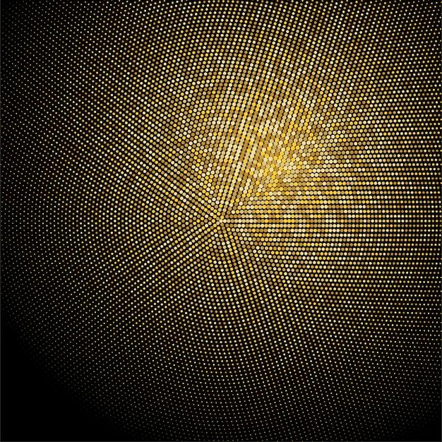 ゴールデンキラキラハーフトーンドット背景。ゴールドレトロパターン