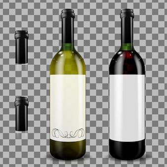 赤と白のワインのボトル。